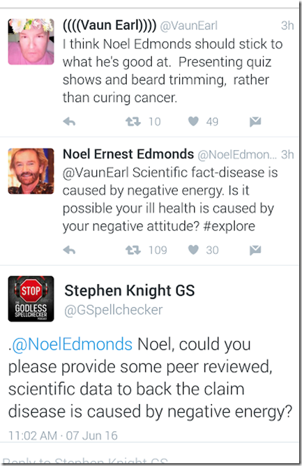 Noel Edmonds, Cancer, Negative Energy And The 'Miracle Pad